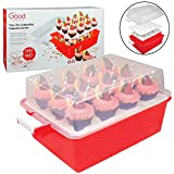 two-tier cupcake an muffin holder holds 24 cupcakes features extra deep trays as well as extra height to prevent cupcakes from tipping over made from rigid plastic and secure handles to ensure protection during travel nests when not in use for easy s...