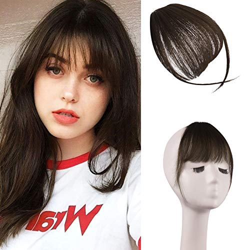 FESHFEN Clip in Bangs 100% Remy Echthaar One Piece Clip in Pony Fringe Bang Extension Verlängerung Air Bangs natürliche Haarteil für Frauen und Mädchen, Dunkelrotbraun