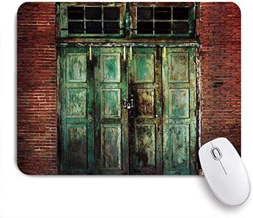Gaming Mouse Pad rutschfeste Gummibasis, rustikale rostige alte Tür aus rotem Backstein Wandhaus schmutzige Tür vorne vorhanden Retro strukturiert, für Computer Laptop Schreibtisch