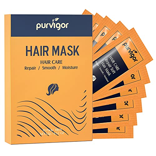 Purvigor Magic Hair Mask Treatment-Moisturizing Conditioner Repairs and Luxury Hair Care for Dry Damaged, Color Treated, Curly and Straight Hair 10 Pack