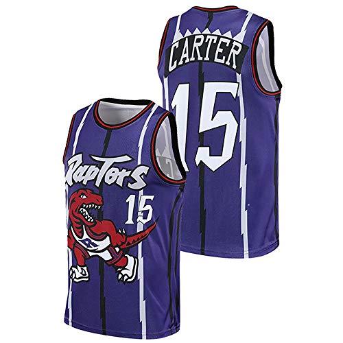 Ordioy Camiseta De Baloncesto para Hombre, NBA Toronto Raptors # 15 Vince Carter, Camisetas De Uniforme Vintage, Camiseta Unisex Sin Mangas con Malla Bordada Y Deportiva,Púrpura,3XL