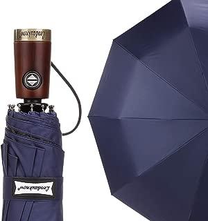 Leodauknow Automatic Open Close Umbrella Travel Umbrella Windproof Waterproof Stick Umbrellas (Blue)