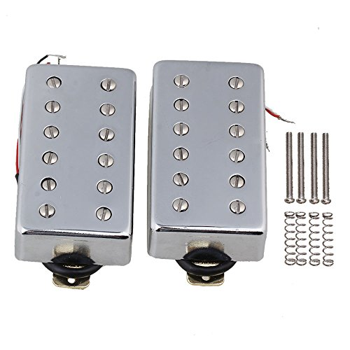Yibuy 2xWhole Silver Cover 50mm 52mm Humbucker Tonabnehmer für E-Gitarre