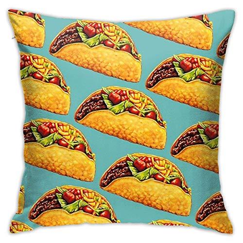 Moily Fayshow Fundas de Almohada de Tiro, Funda de Almohada Cuadrada Decorativa de Granja, Funda de cojín, Funda de Almohada, 40X40 Cm, Tacos Mexicanos, Verde Menta