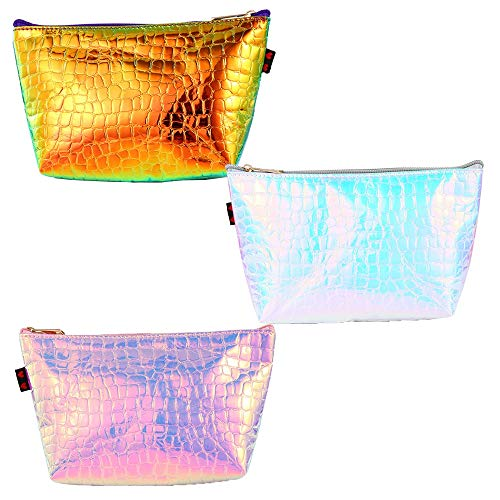 3 Pcs Sac Cosmétique de Sac Coloré de Crocodile Portable de Modèle de Sac Cosmétique de Laser de Sac à Main Multifonctionnel de Tirette Camping, Déplacement (Color : Gold+Pink+Silver, Size : M)