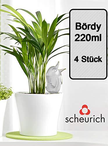 Scheurich Wasserspender Bördy M | 4 x Klar | 220ml Füllmenge | Bewässerungskugel klein mit Ton Fuß | Wasserspender für Zimmerpflanzen und Blumen Terrakotta Stiel
