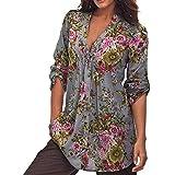 K-youth Camisas para Mujer, Túnica con Cuello en V de Estampado Floral Vintage de Mujer Tops de Talla Grande de Moda para Mujer Casual Blusa Suelto Tops 2018 Oferta (Gris, 6XL)