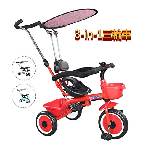 Triciclo for la bicicleta bebé de los niños de 3 Ronda 3 en 1 coche de juguetes for niños portátiles bicicleta bebé de múltiples funciones del bebé de la carretilla 1-3-6 años de edad ( Color : Red )