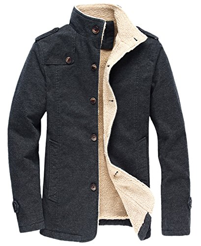 chouyatou Men's Military Button Front Sherpa Lined Heavyweight Trucker Jacket (Large, Dark Grey)