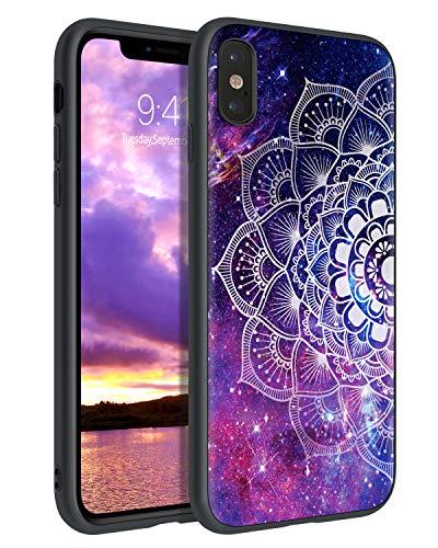 YINLAI iPhone X/XS Hülle, iPhone X/XS 5.8' Handyhülle dünne Stylische Lila Mandala Nebula Pattern Muster Hülle, leicht dünn stoßfest Kratzfest TPU Stoßstange Schutzhülle für iPhone X/XS 5.8 Zoll