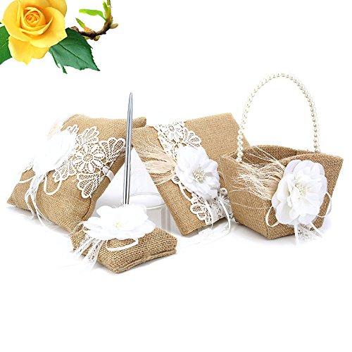 Lznlink 5 Pcs/ Set Burlap Wedding Guest Book+Pen+Pen Stand+Ring Pillow+Flower Basket Sets Decor Supplies