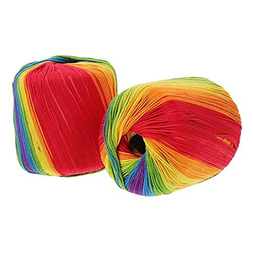 VICASKY Hilo de Algodón de Color Arcoíris: 2 Rollos Bolas de Gradiente Arcoíris Hilo de Mano Hilo...