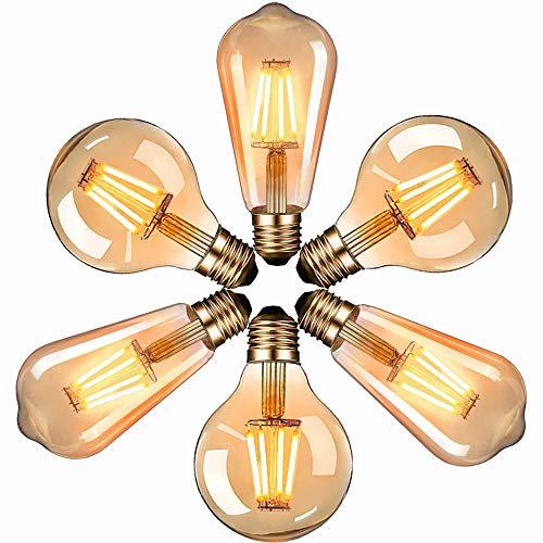 massway Edison Vintage LED Glühbirne, E27 Antike LED Filament Lampe 4W Dekorative Glühbirne (2700K, 400LM, Modell G80&ST64) Ideal für Nostalgie und Retro Beleuchtung im Haus Café Bar - 6 Stück