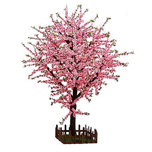 BOWCORE Casi Natural Simulación árbol de la Flor 150cm Árbol de melocotón Rosado Grande Falso de Madera Maciza Artificial Ciruela Planta Interior de la Sala Comercial Decoración