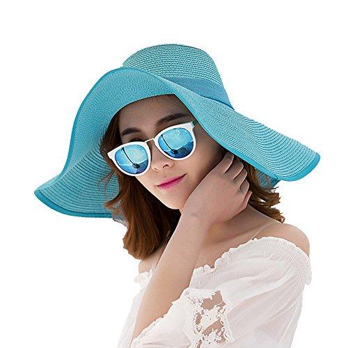 Grsafety Sommer Strand Hut Frauen großer Bowknot Strohhut faltbarer breiter Rand feste Kappen Dame Sun Hat Beach Cap Blau