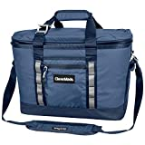 CleverMade Maverick Collapsible Cooler Bag - 50 Can Insulated Leakproof Soft Sided Beverage Tote with Shoulder Strap, Bottle Opener and Storage Pockets, Navy, Large, One Size