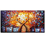 V-inspire art, 24 X 48 Inch Modern Tree art Canvas Wall art Oil Painting Living room Bedroom Hand Painted Paintings Orange yellow Wall Decoration Acrylic Paint Knife Painting