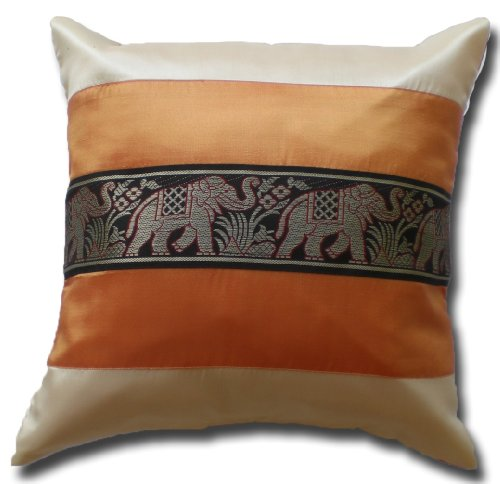 Elefanten Elefant cremeweiss - orange Kissenbezug Kissenhülle Kissen 41,5 cm x 41,5 cm Thai Silk Sofa Couch