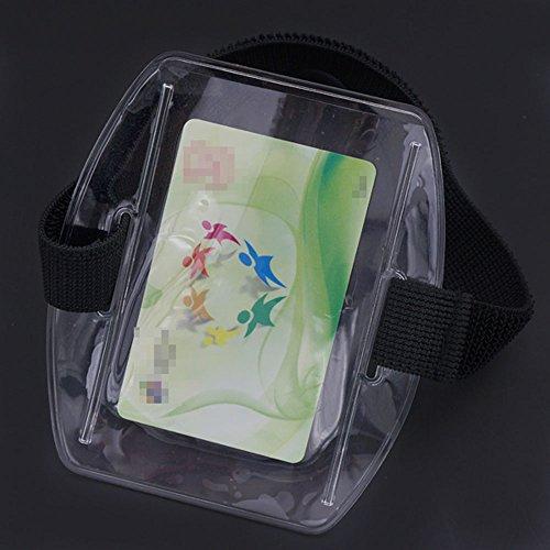 Bluemoona 2 Pcs - Vertical Armband Id Name Tag Card Photo Badge Holder + Black Elastic Strap Arm Band