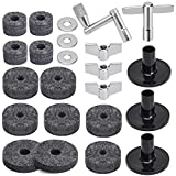 Facmogu 23PCS Cymbal Replacement Accessories, Cymbal Stand Felts, Drum Cymbal Felt Pads Include Wing Nuts, Washers, Cymbal Sleeves & Drum Key - Gray