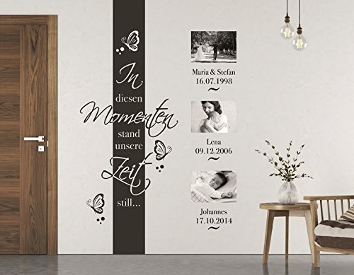 tjapalo® S-pkm70 Wandtatto Fotorahmen Wohnzimmer Wandtattoo in diesen Momenten stand die Zeit still in these Moments 4 Namen Datum (H200 cm) in vielen Größen und Farben ab 22,69€