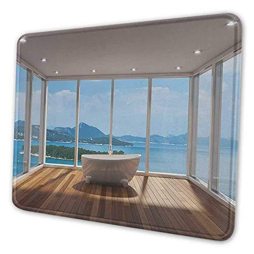 Badezimmer Niedliche Mauspad Minimalistisches Design Badewanne mit entspannender Landschaft der Inseln Print Notebook Computer Mauspad Weiß Hellbraun und Blau