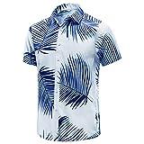 EUOW Men's Hawaiian Shirt Short Sleeves Printed Button Down Summer Beach Dress Shirts (YZBL, L, l)