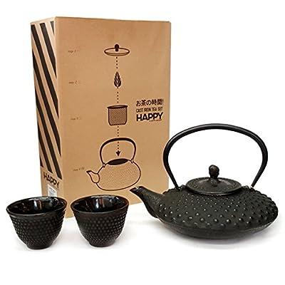 Happy Sales HSCT-MCB15, Cast Iron Tea Pot Tea Set Shogun, Black