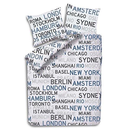 Julido Satinierte Bettwäsche 135x200+80x80cm Städte Städtenamen Weltenbummler weiß
