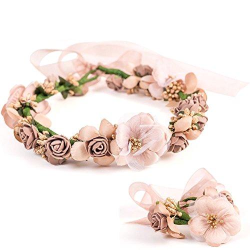LONGBLE Blumen Stirnband und Blumenarmband, Blume Krone + ArmbandBrautschmuck Kopfschmuck für Braut Damen Mädchen Brautjungfer zur Geburtstag, Hochzeit, Party