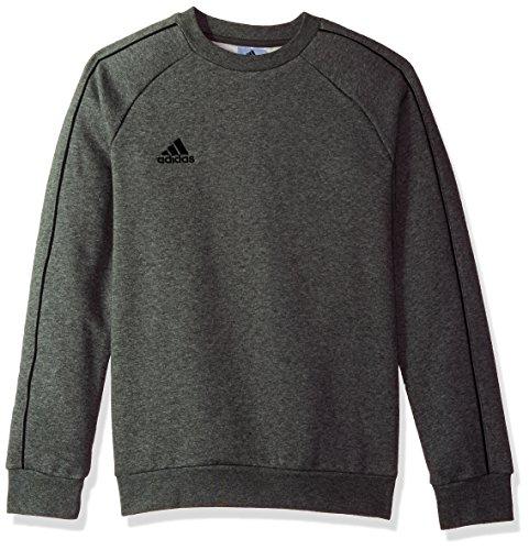 adidas Juniors' Core 18 Soccer Sweatshirt, Dark Grey Heather/Black, X-Small
