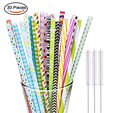 30 Pieces Reusable Straws BPA Free Non Smell Drinking Straws Fit for 20 OZ 30 OZ Tumbler Mason Jar,Durable Plastic Straw with 3 Cleaning Brushes
