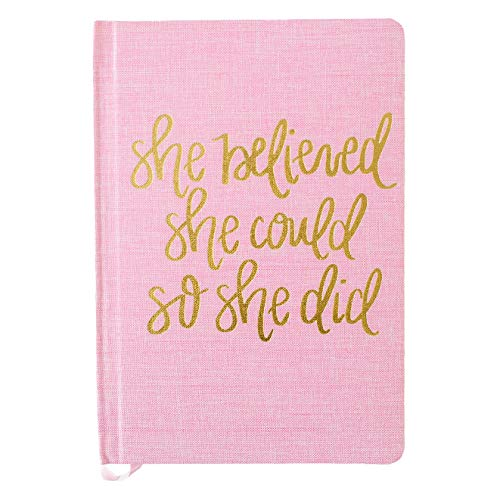 Sweet Water Decor Cute Motivational Lined Composition Notebook for Women, 100 Ruled Pages for Writing, Diary with Fabric Inspirational Cover (Pink She Believed She Could)