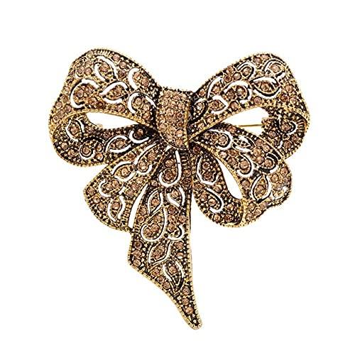 Color negro Rhinestone arco broches para las mujeres gran bowknot broche Pin Vintage moda joyería invierno accesorios