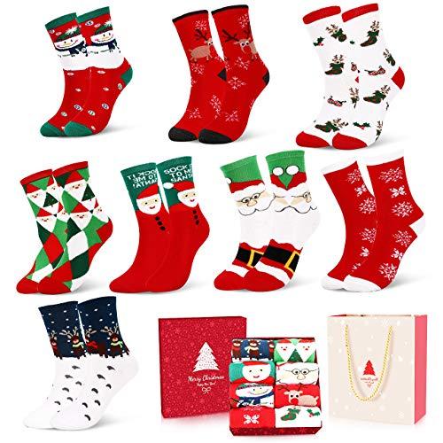 Emooqi Weihnachtssocken, Weihnachten Socken Festliche Socken Baumwollsocken Wollesocken Super Warm Socken für Geschenk mit Exquisite Geschenkbox & Geschenktüte