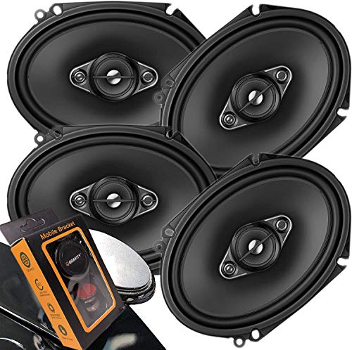 """4 x Pioneer TS Series 350W Max 6"""" x 8"""" A-SERIES 4-Way Coaxial Car Speakers with Gravity Magnet Phone Holder Bundle (4 Speakers)"""