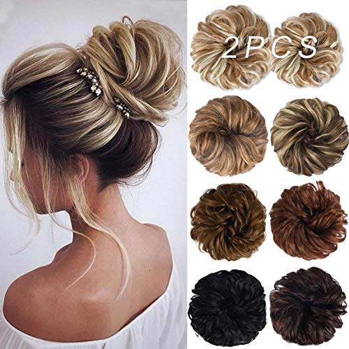 Messy Bun Hair Piece, 2PCS Tousled Updo Hair Extensions Hair Bun Curly Wavy Ponytail Hairpieces Hair Scrunchies with Elastic Rubber Band for Women Girls Glden Blonde bleach Blonde Highlights 25H613