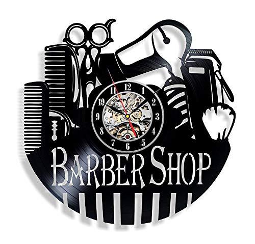 Barber Shop main vinyl record horloge murale-obtenez décoration murale pièce unique-idées cadeaux pour son et son,Black,12