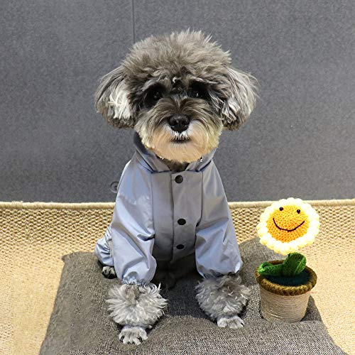 Yuiuiペット犬レインコートレインパーカー雨具帽子付きカッパ犬服ドッグウェア防水ファブリック着脱簡単中型犬適用(ブルー3L)