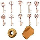 Apribottiglie chiave - 50 pezzi Apribottiglie chiave scheletro vintage con carta regalo Kraft e spago per bomboniere Decorazione rustica antica per feste (10 stili, oro rosa)