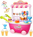 Geyiie Ice Cream Cart Playset 28Pcs Ice Cream Shop Pretend Play Food Cart with Music and Lights Function Food Truck Set Birthday Gift for Kids Age 3+(Product Size: 13.4*7.0*13.7 in)
