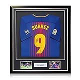 Exclusive Memorabilia - Camiseta de fútbol firmada por Luis Suarez en Marco, Barcelona 2017-18