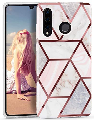 Imikoko Hülle für Huawei P30 Lite Handykette Glitter Bling Rosegold Handyhülle TPU Silikon Weiche Schlank Schutzhülle Handytasche Flexibel Case Handy Hülle