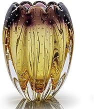 Vaso em Cristal Murano Lilás com Âmbar 20,5cm