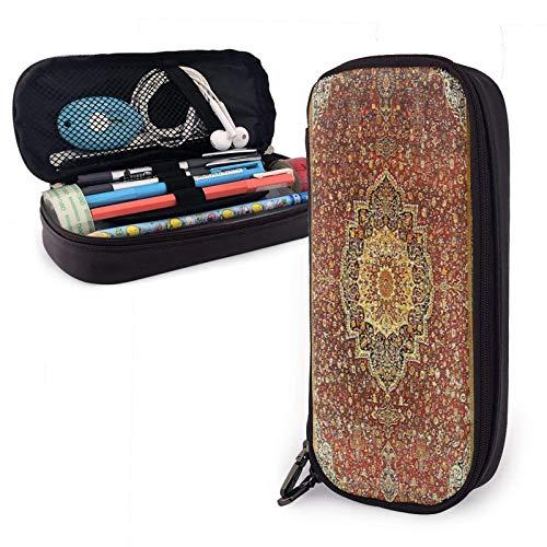 Khorasan Antike Pern Teppich Pu Leder Federmäppchen mit Reißverschluss Big Caity Carryim Fall für das Schulbüro
