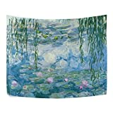 Ahomy Tapestry Water Lilies by Claude Monet Oil Paintings Flowers, poliéster, Multi 01, 153 x 102 cm