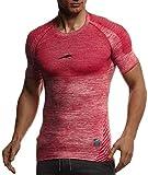 Leif Nelson Gym Herren Seamless Fitness T-Shirt Funktionsshirt Slim Fit Männer Bodybuilder Trainingsshirt Kurzarm Sportshirt - Bekleidung für Bodybuilding Training LN8307 Rot-Schwarz Medium