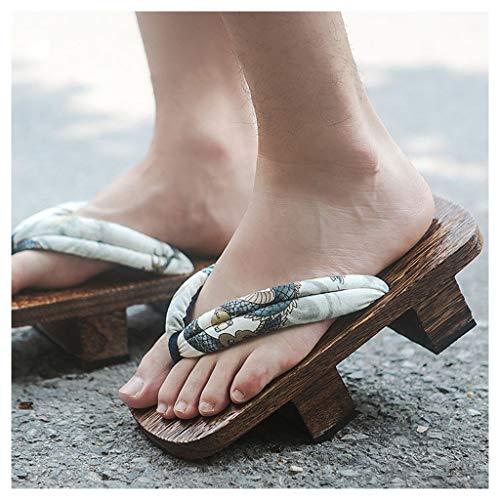OFFA Pantuflas Zapatillas De Sandalias Tradicionales De Kimono Japonés para Mujeres Y Hombres, Toe Abierto, Chanclas para Exteriores, Zapatillas De Plataformas Zapatos De Madera Pareja Zapatillas