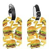 AITAI French Fries - Etiquetas para equipaje para maletas (2 unidades), diseño de hamburguesa de carne de vacuno