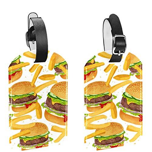 AITAI Lot de 2 étiquettes d'identification de voyage pour valises, frites, bœuf, hamburger, pour sacs et bagages